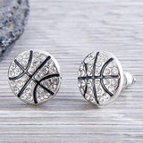 Basketball Rhinestone Earrings - Sportybella