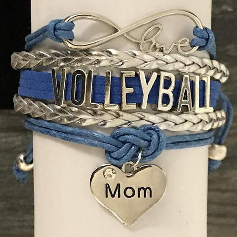 Personalized Volleyball Infinity Charm Bracelet with Letter Charm