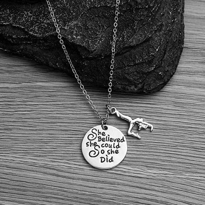 Gymnastics She Believed She Could So She Did Necklace