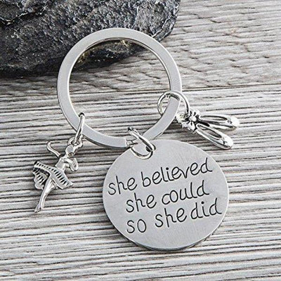 Dance Keychain - She Believed She Could So She Did - Sportybella