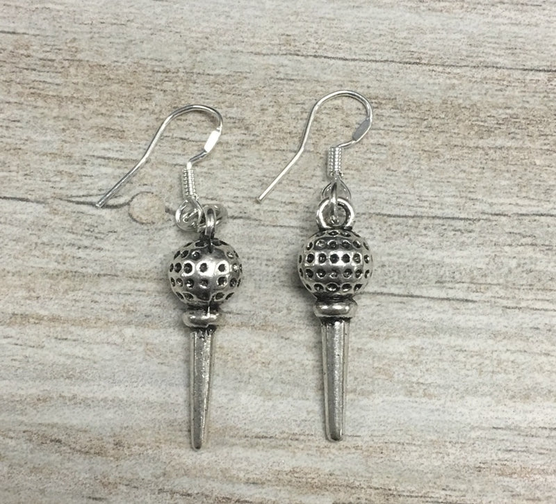 Golf Tee Charm Earrings