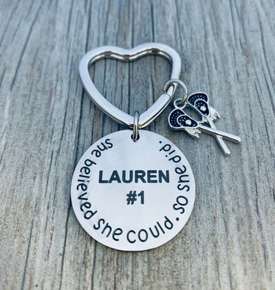 Personalized Engraved Lacrosse Keychain