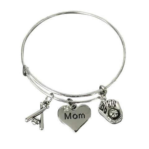Baseball Mom Bangle Bracelet - Sportybella