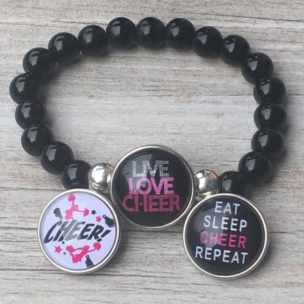 Cheer Interchangeable Snap Charm Bracelet - Sportybella