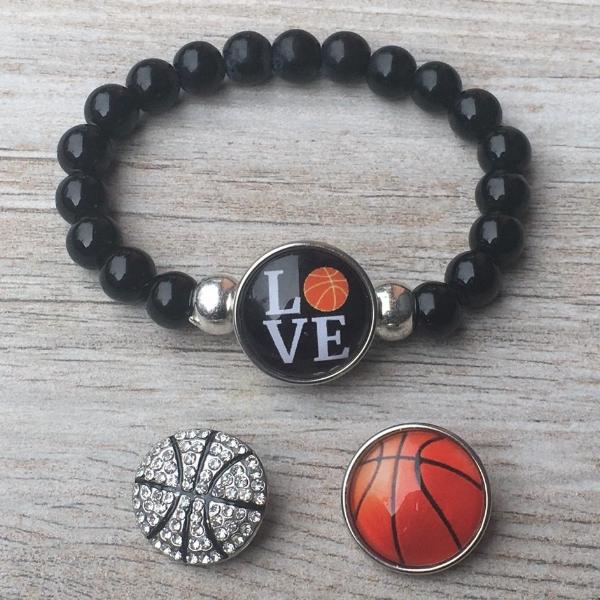 Basketball Interchangeable Snap Charm Bracelet - Sportybella