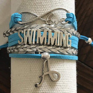 Personalized Swim Bracelet with Letter Charm, Custom Swimmer Gift