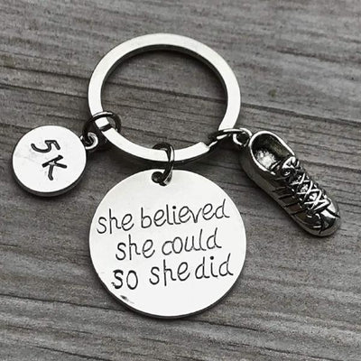 Runner 5k Keychain, She Believed She Could So She Did Keychain, Running Gift