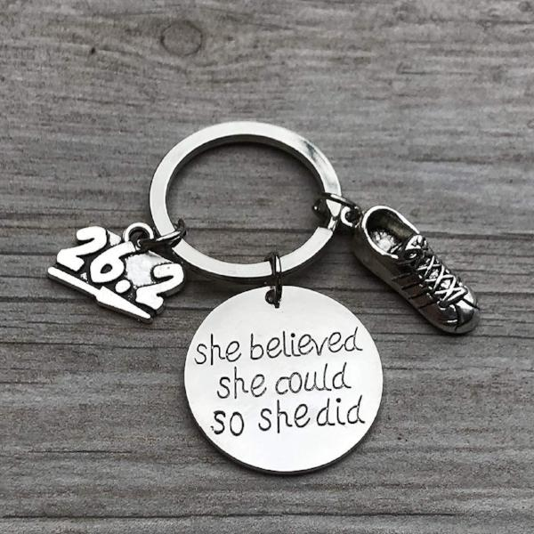 Marathon Keychain, Runner She Believed She Could So She Did Keychain