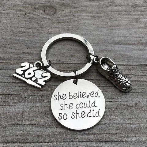 Marathon Keychain, Runner She Believed She Could So She Did Keychain, Running Gift