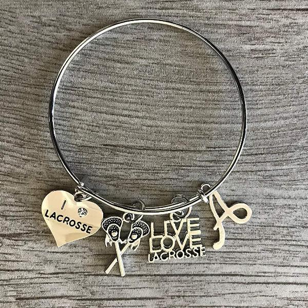 Personalized Girls Lacrosse Bracelet- Girls Lax Jewelry with Letter Initial
