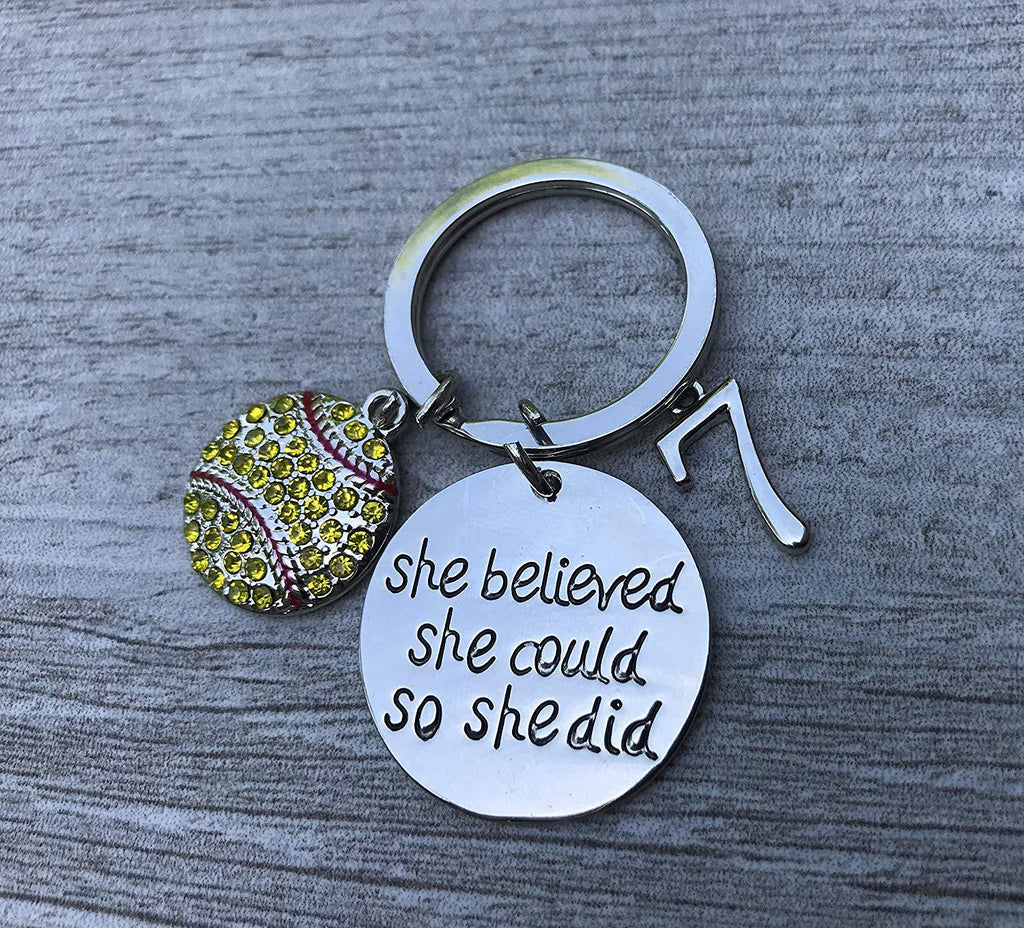 Personalized Softball Keychain with Jersey Number Charm