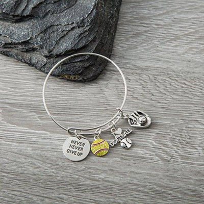 Softball Never Give Up Bangle Bracelet - Sportybella