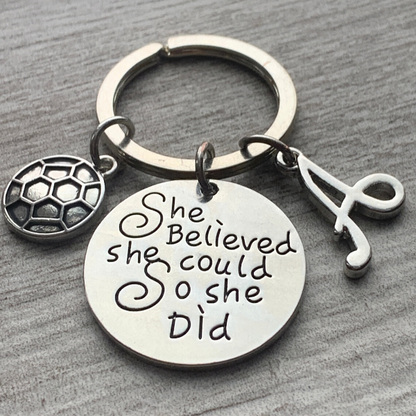 Personalized Soccer Keychain with Letter Charm