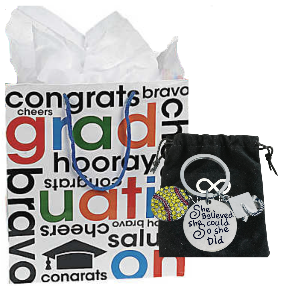 Softball Graduation Keychain & Gift Grad Gift Bag