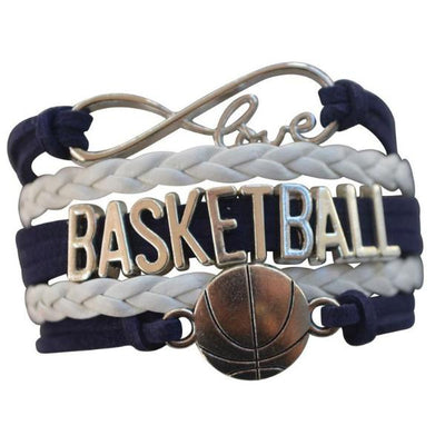 Girls Basketball Infinity Bracelet - Navy - Sportybella