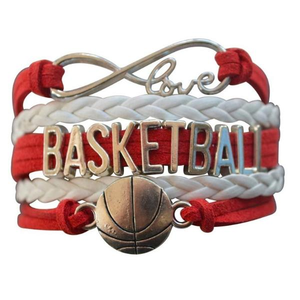 Girls Basketball Infinity Charm Bracelet - Red - Sportybella
