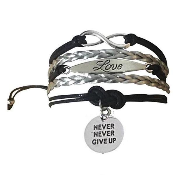 Cheer Never Give Up Bracelet - 19 Team Colors - Sportybella