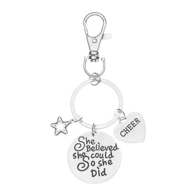 Cheer Zipper Pull Keychain- She Believed She Could So She Did - Sportybella