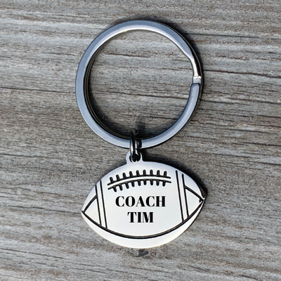 Personalized Engraved Football Coach Keychain