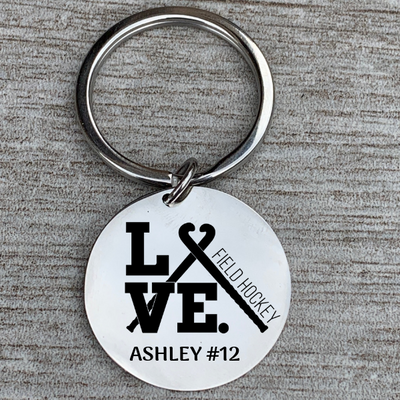 Engraved Field Hockey Keychain
