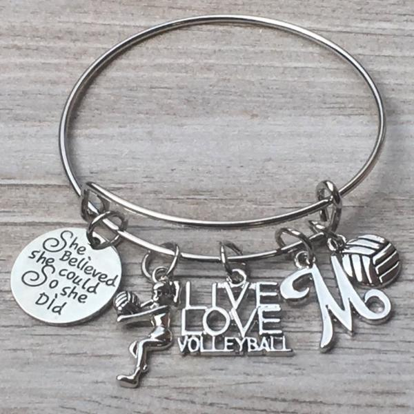 Personalized Volleyball Bangle Bracelet with FREE Bonus Letter Charm