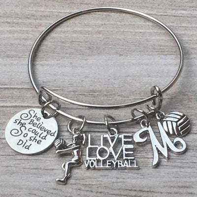 Personalized Volleyball Bangle Bracelet with FREE Letter Charm