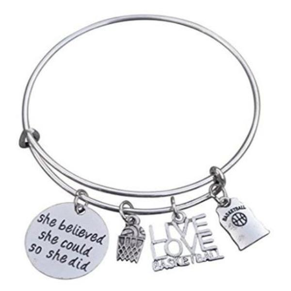 Girls Basketball She Believed  She Could She Did Bangle Bracelet - Sportybella