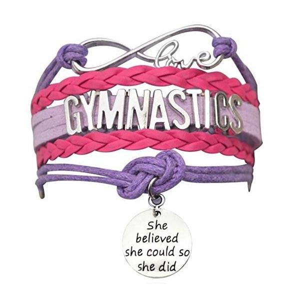 Girls Gymnastics She Could Infinity Bracelet- 13 Colors - Sportybella