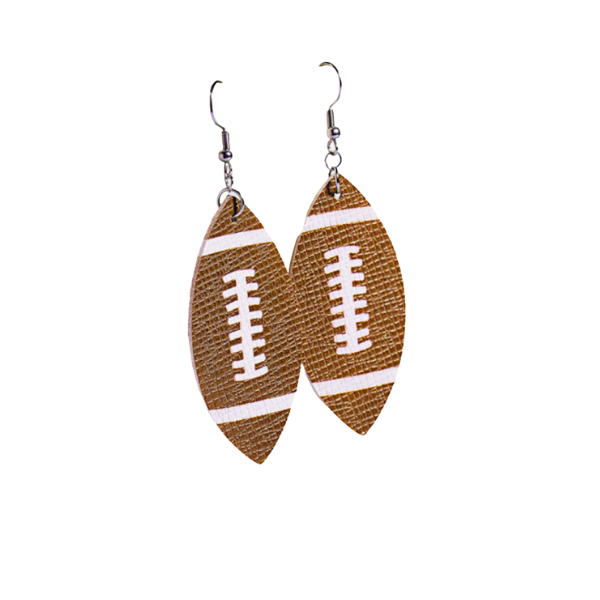 Football Teardrop Faux Leather Dangle Earrings