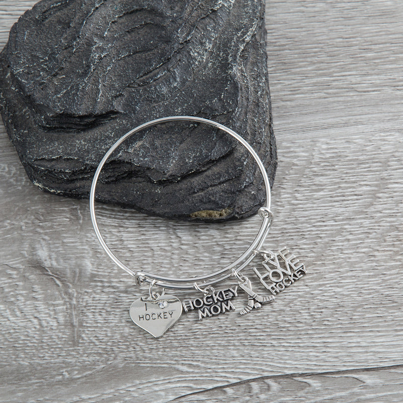 Ice Hockey Mom Bangle Bracelet