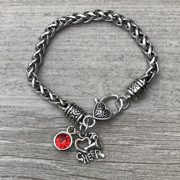 Personalized Cheer Rope Charm Bracelet with Birthstone Charm