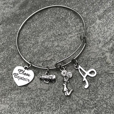 Personalized Cheer Captain Charm Bangle Bracelet
