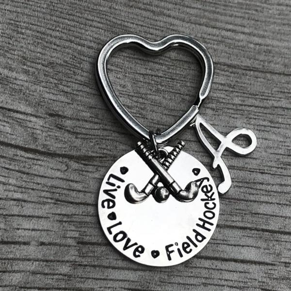 Personalized Field Hockey Live Love Charm Keychain