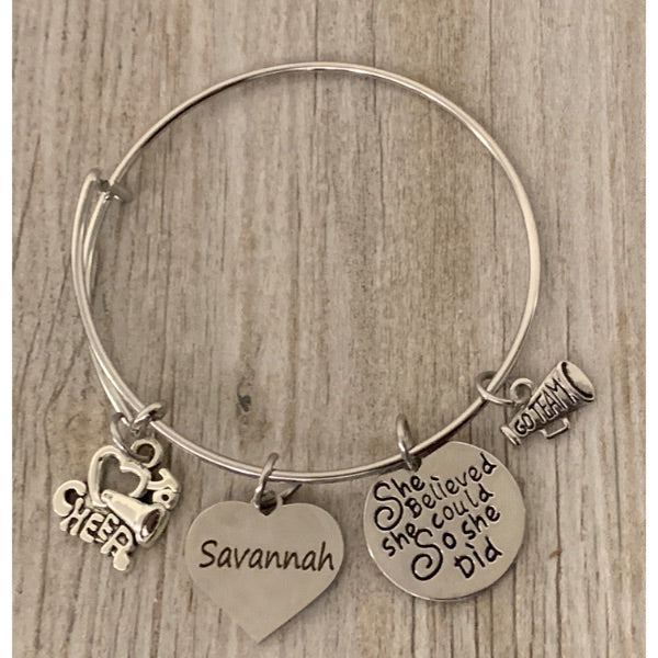 Personalized Cheer Bangle Bracelet with Engraved Name Charm