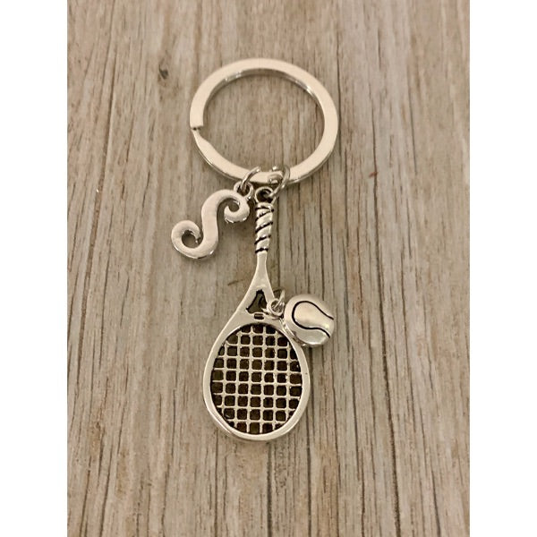 Personalized Tennis Racquet Keychain with Letter Charm