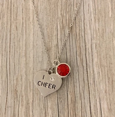 Personalized Cheer Necklace with Birthstone