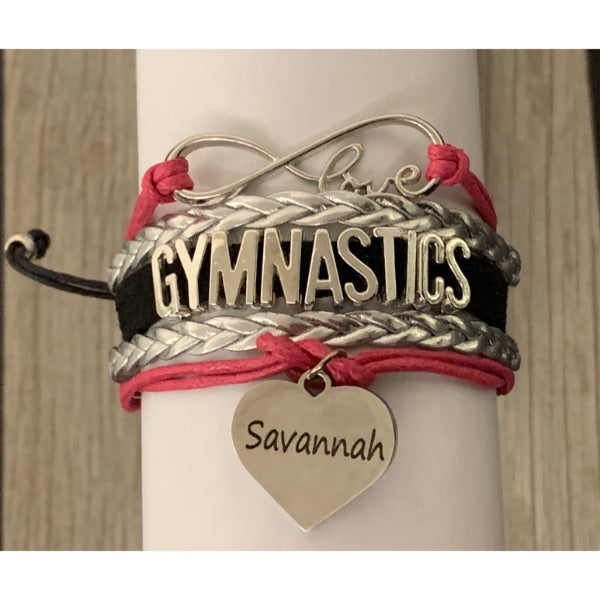 Personalized Girls Gymnastics Bracelet with Engraved Name Charm