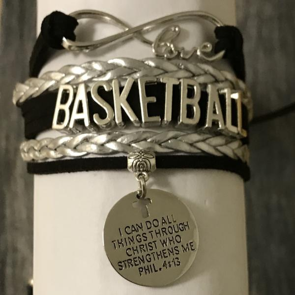 Basketball Christian Charm Bracelet, I Can Do All Things Through Christ Who Strengthens Me - Sportybella