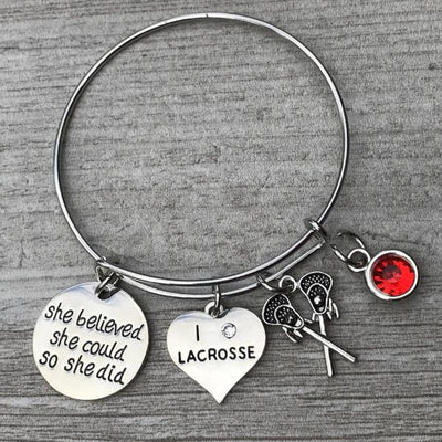 Personalized Girls Lacrosse Bangle Bracelet with Birthstone Charm
