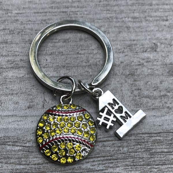 Softball Mom Rhinestone Keychain