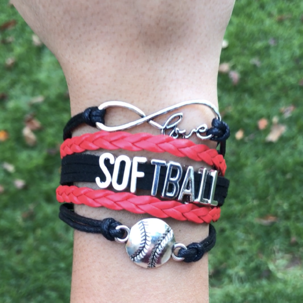 Girls Softball Infinity Bracelet-Red & Black - Sportybella