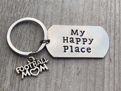 Football Mom Keychain, My Happy Place Football Charm Jewelry