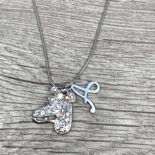 Personalized Figure Skate Rhinestone Charm Necklace