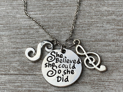 Personalized Music Necklace- She Believed She Could