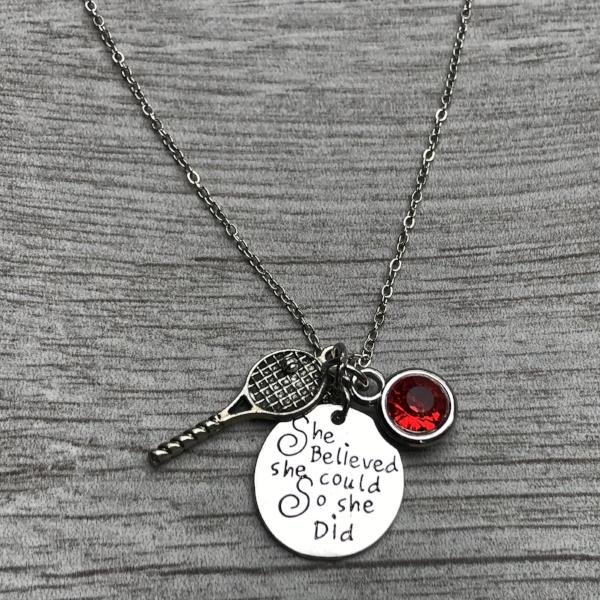 Personalized Tennis She Believed She Could So She Did Necklace