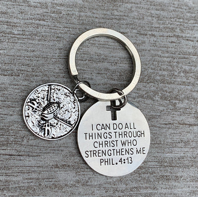 Fencing Charm Keychain, Christian Faith I Can Do All Things Through Christ Who Strengthens Me Phil. 4:13 Scripture Jewelry
