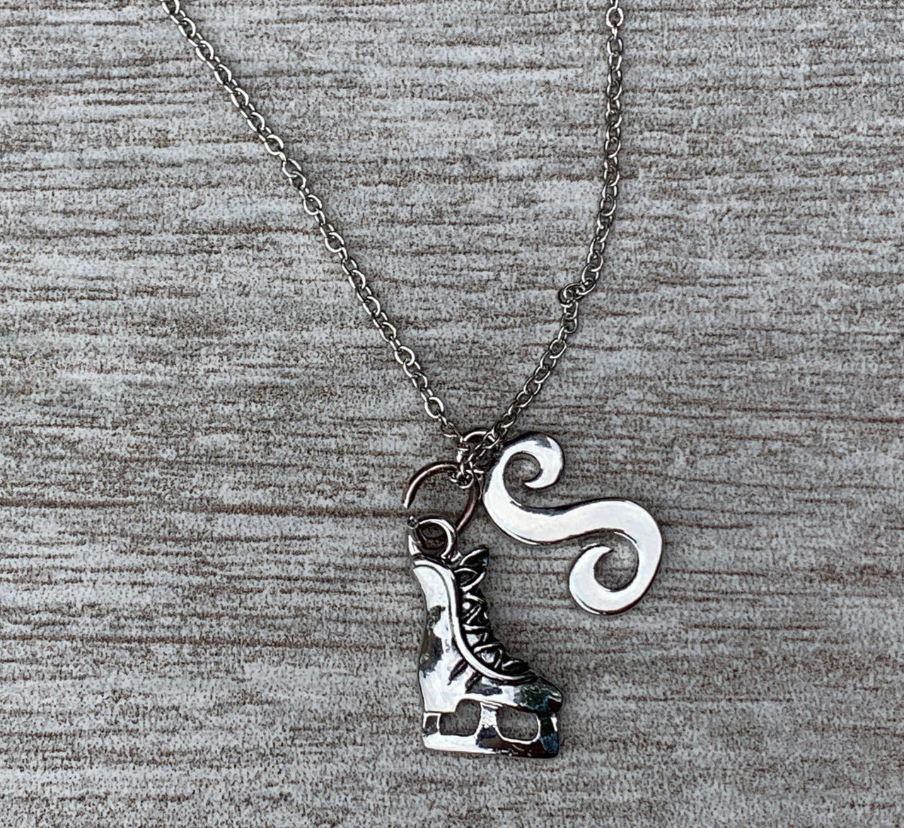 Personalized Figure Skating Necklace- Letter Charm
