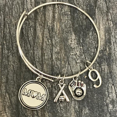 Personalized Baseball Mom Bracelet with Jersey Number Charm