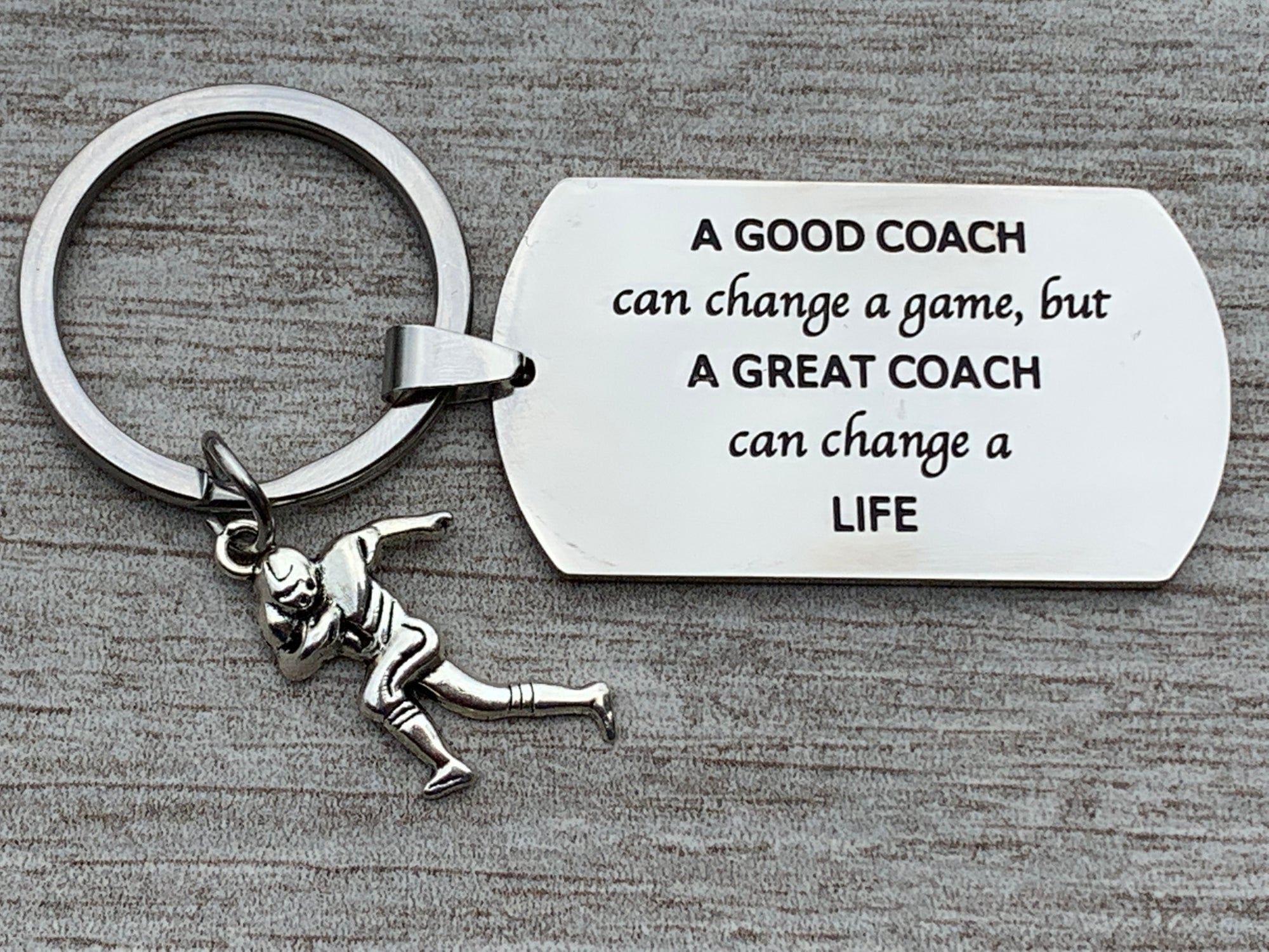 Football Coach Keychain - A Good Coach Can Change a Game But a Great Coach Can Change a Life