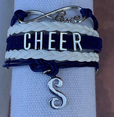 Personalized Navy Cheer Infinity Charm Bracelet with Letter Charm